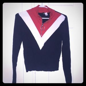 H&M Navy white and red sweater with zip